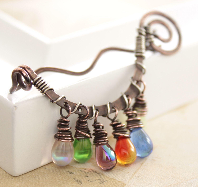 Scarf pin or shawl pin in swirly rainbow multicolored dangles design ...