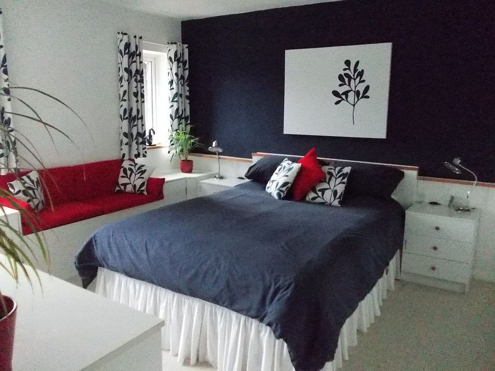Bedroom Makeover In Navy Blue White And Red White Bedroom