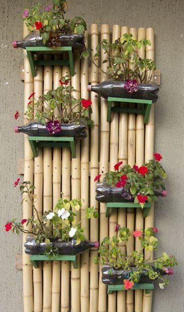 diy d co un jardin suspendu avec des bouteilles plastique plastique pinterest fleur. Black Bedroom Furniture Sets. Home Design Ideas