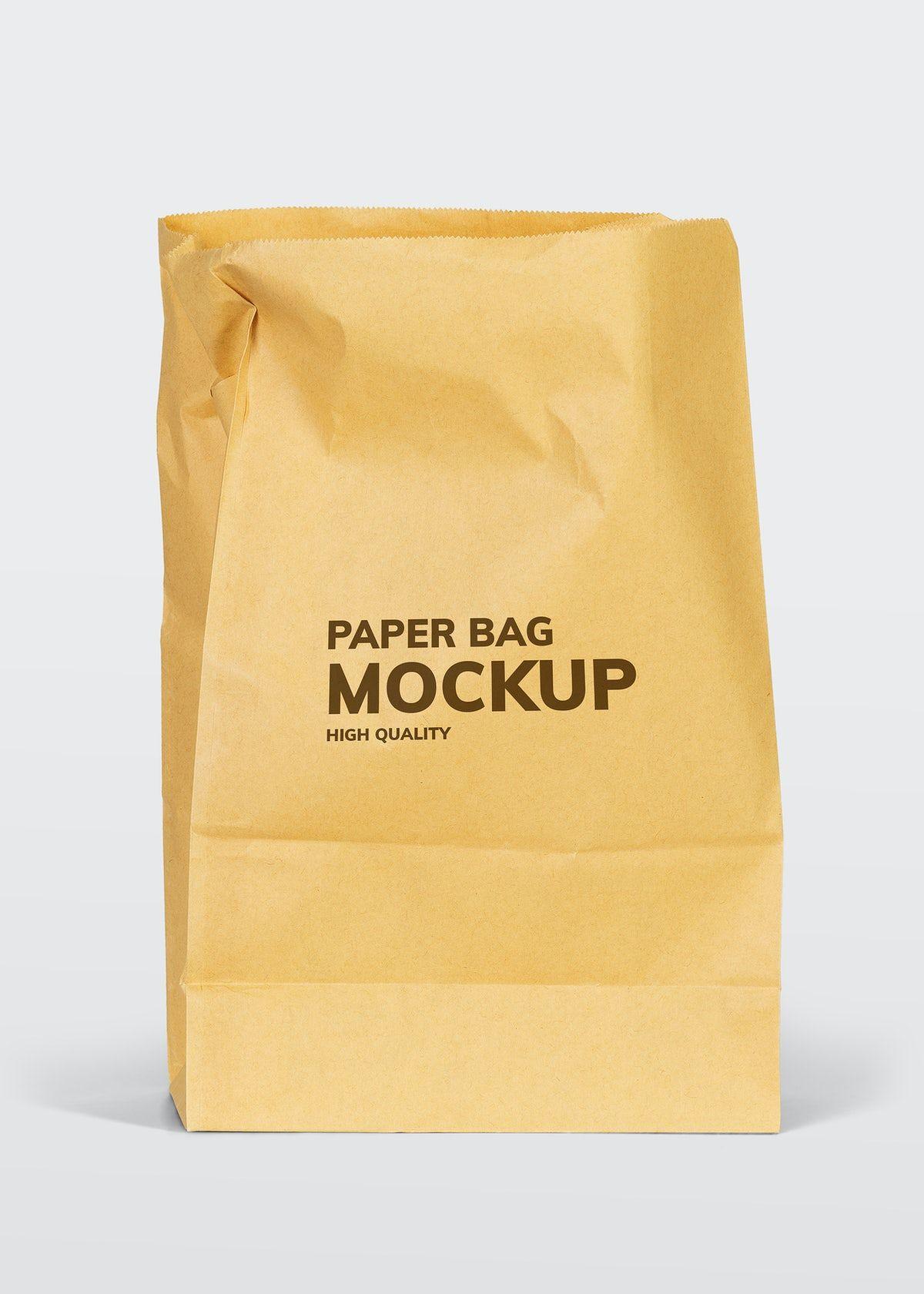 Download Download Premium Illustration Of Brown Paper Bag Mockup On A White In 2020 Bag Mockup Brown Paper Bag Paper Texture Background Design