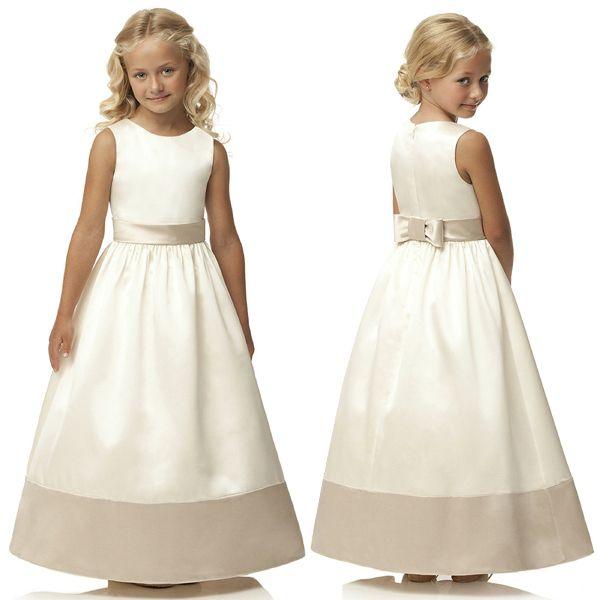Cheap 2015 por encargo del estilo encantador caliente una línea de satén primera comunión vestido blanco W407, Compro Calidad Vestidos de Comunión directamente de los surtidores de China:     Hecho a la medida del estilo caliente encantador del A-line del satén de primera comunión vestido blanco W407