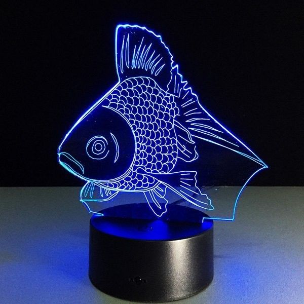 Colorful 3d Visual Fish Shape Led Table Night Light 185 Zar Liked On Polyvore Featuring Home Lighting T 3d Led Night Light Led Night Lamp Led Night Light