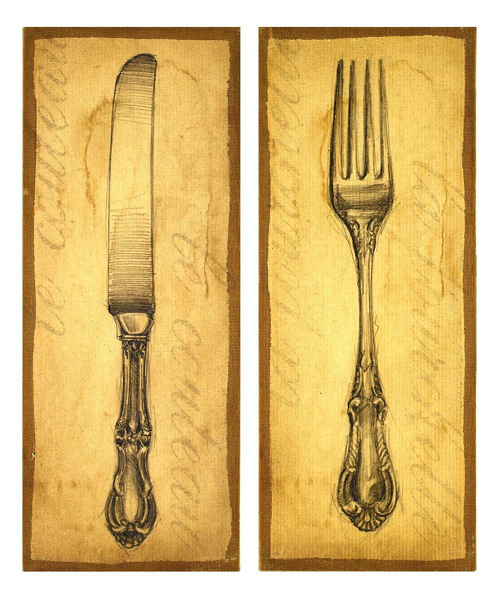 Two-Piece Antique Knife & Fork Art Wall Art | Pinterest | Fork art ...