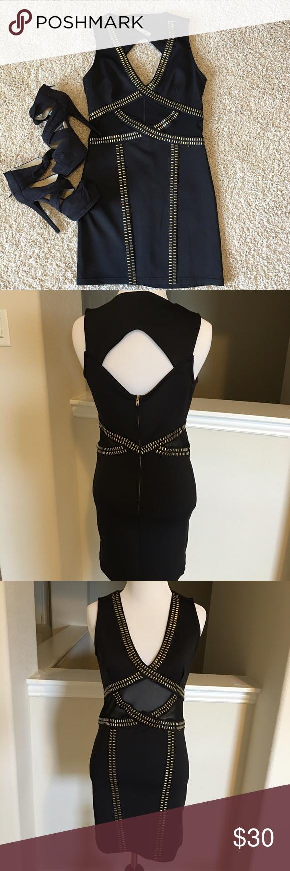 Nwt Boutique 5ive Black Dress With Gold Accents Clothes Design Fashion Black Dress [ 1740 x 580 Pixel ]