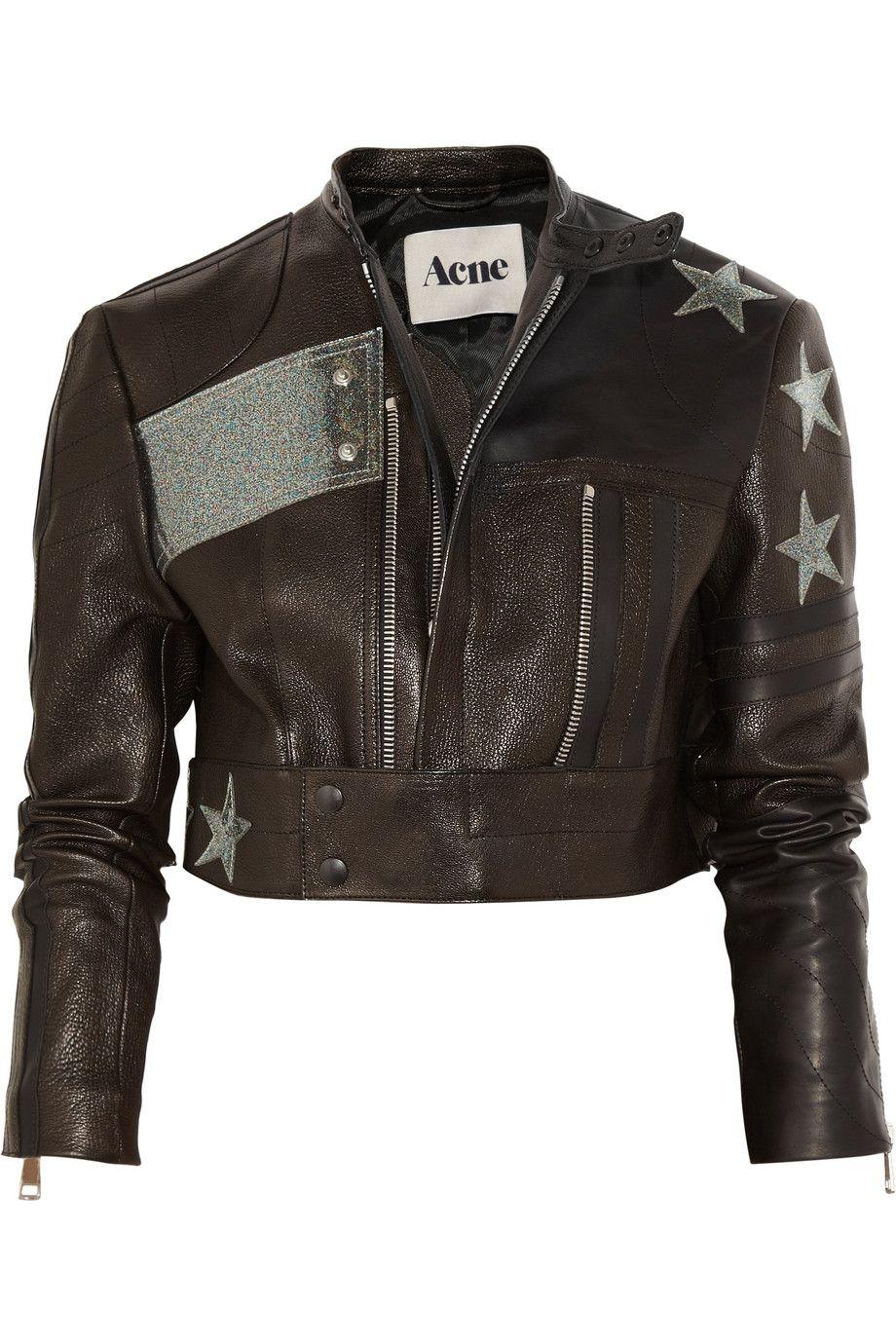 Acne Stars appliquéd cropped leather biker jacket. Total