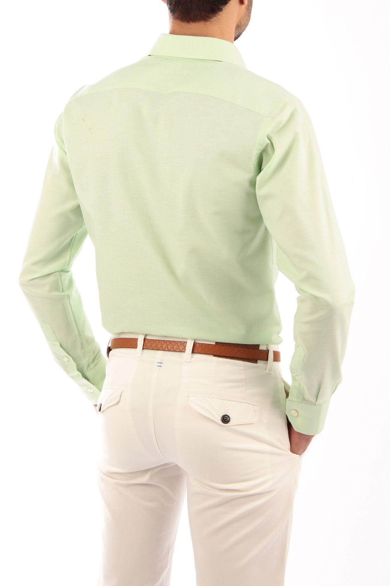 d2db988fc0 Camisa Oxford color manzana con cinta escocesa gris y verde. Producto  artesanal. Detalles de