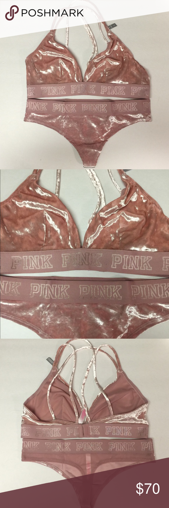 218d640499427e VS PINK Velvet Bralette Thong Set Perfectly Pink New with tags Victoria s  Secret PINK Velvet Bralette