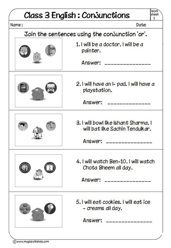 Printable Worksheets conjunctions worksheets for kids : This is very attractive and simple worksheet of Class 3 English ...