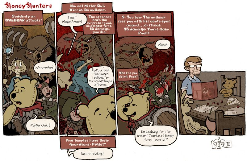 Playing RPGs with Winnie-the-Pooh.