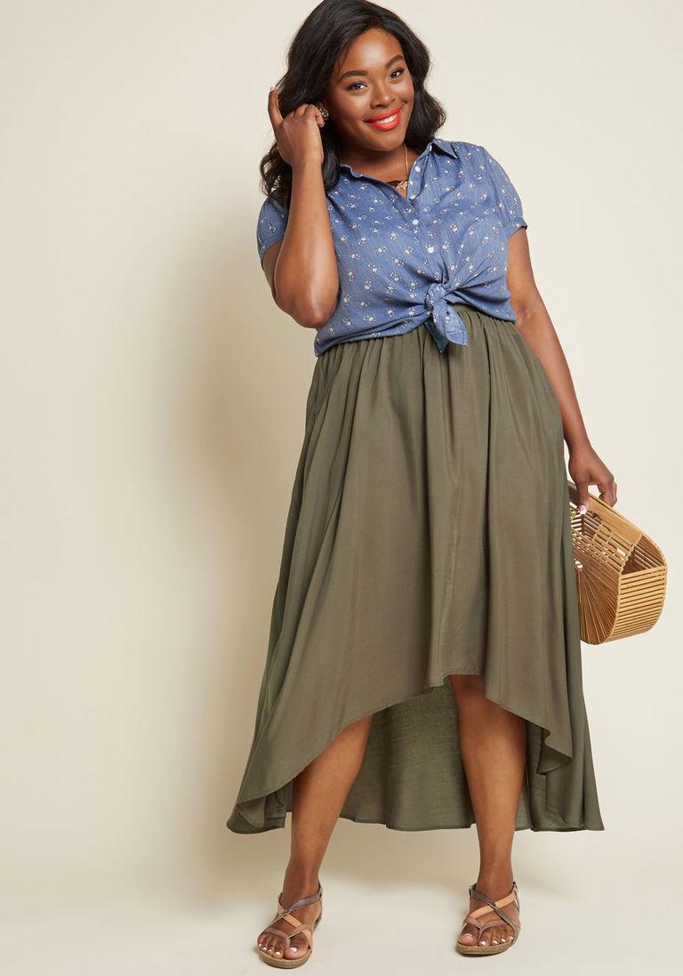 b863bb30c62 Lead in Lengths Midi Skirt in Olive in XXS