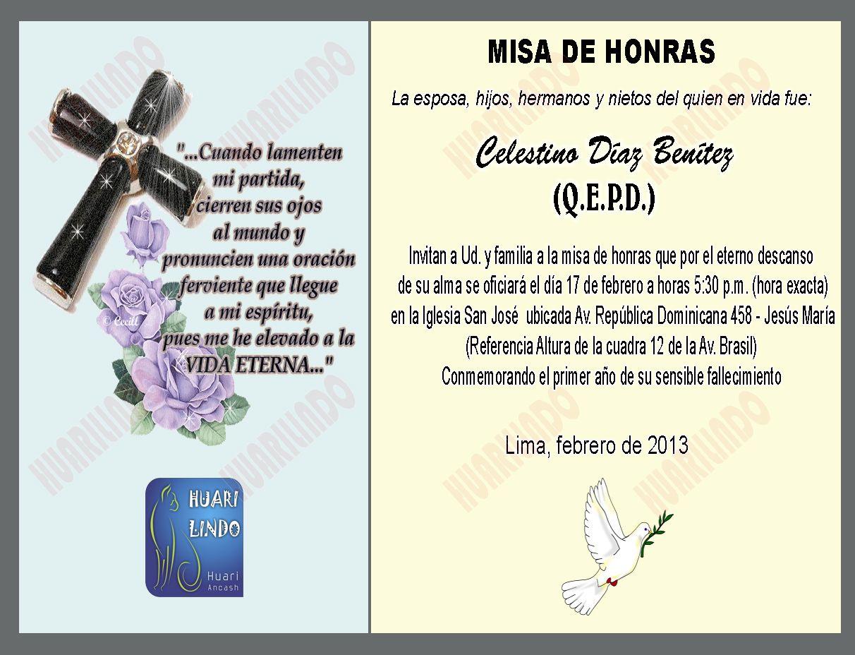 Invitación a misa del 25° aniversario luctuoso