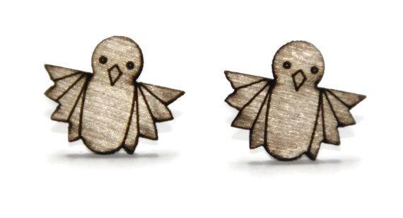 laser cut wooden earrings - Bird