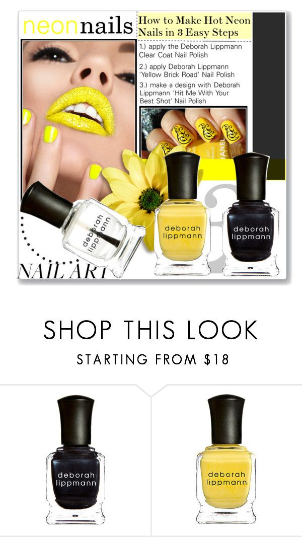 """neon nails: nail art"" by trendytaste ❤ liked on Polyvore featuring beauty, Chanel, Deborah Lippmann, nailart and NeOnNaiLs"