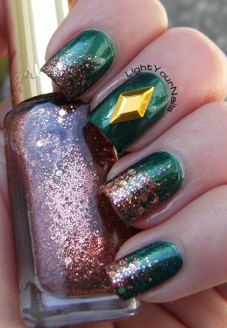 Emerald + copper glitter gradient + stud accent