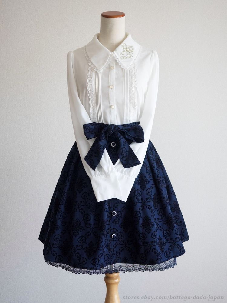 axes femme Victorian Setup mixed Blouse Skirt Ribbon Layer Lolita Kawaii Japan #axesfemme