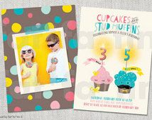 Miss Cupcake Mr Stud Muffin Kids Joint Birthday Party Invitation