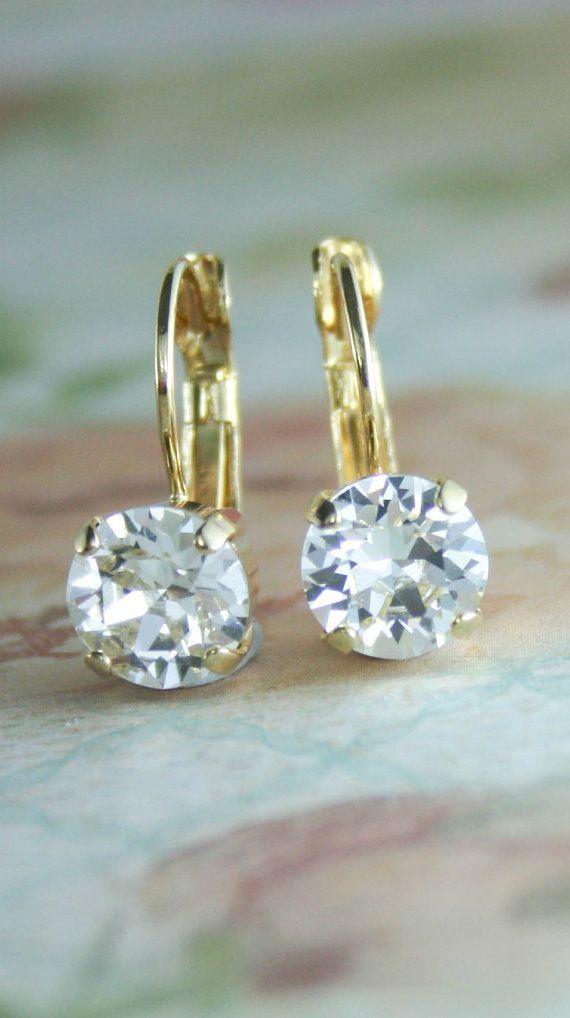 Crystal Earrings Lever Back 8mm Stone Setting Wedding Bridal Women Gift Boxed