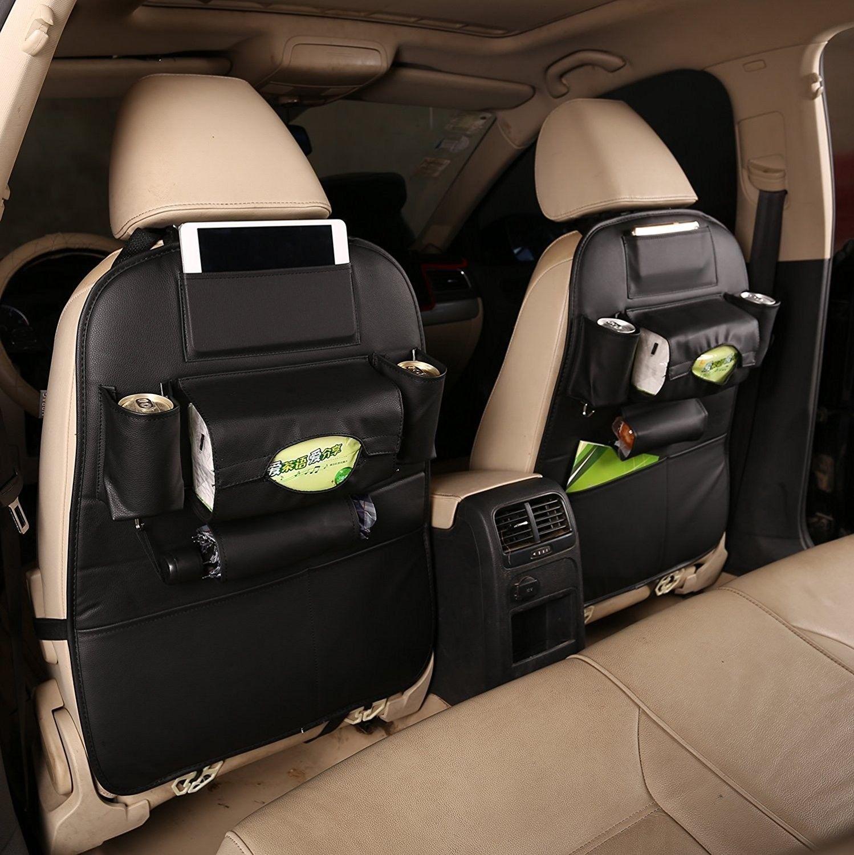Car Backseat Organizer Storage Pockets 2 Pack Pu Leather Black Van