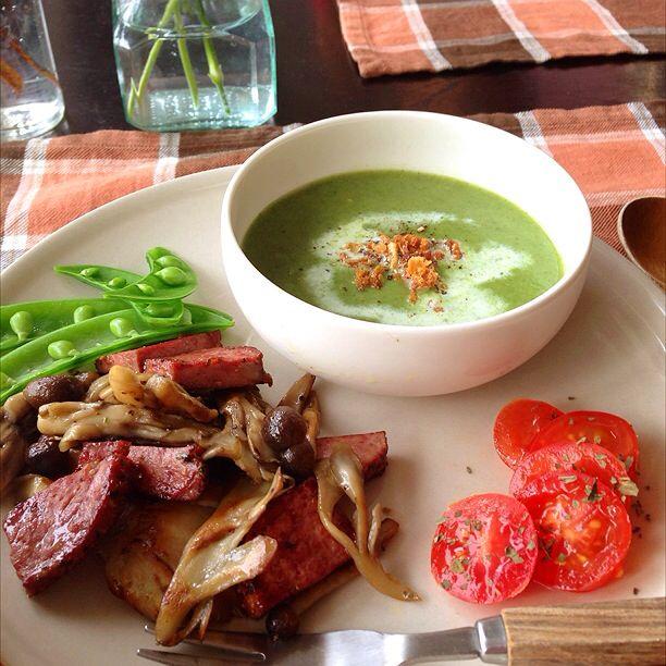 小松菜、長ネギ、さつまいものポタージュ きのことパストラミビーフソテー など。
