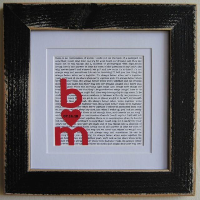 Wedding song frame first anniversary gift just for my