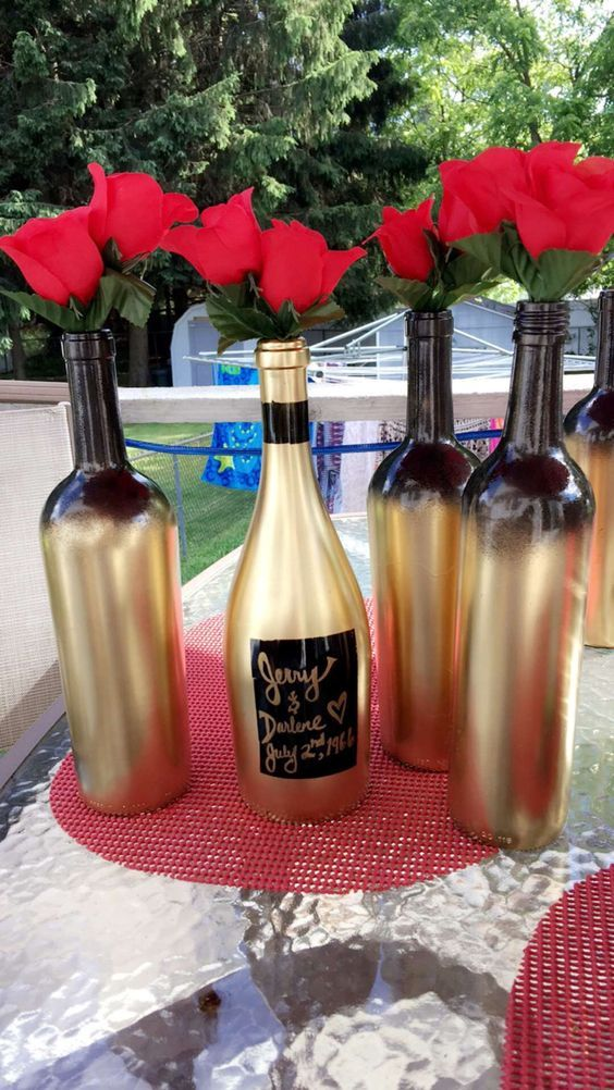 Spray Paint Wine Bottles Gold And Black Masquerade Party 50th