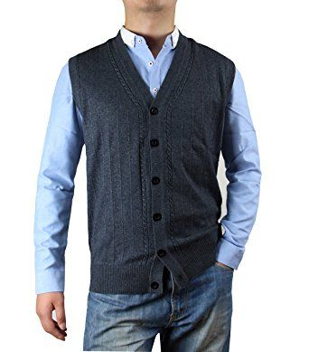 Zerdocean Men's Solid Color Button-Down Wool Sweater Vest Cardigan ...