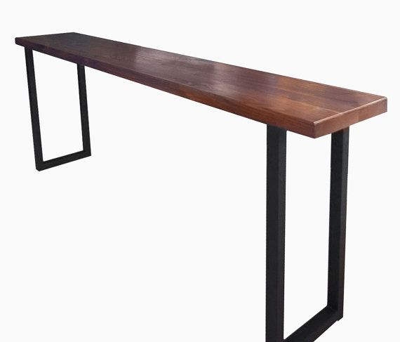 This walnut and steel breakfast bar or console table would be a beautiful  addition to any. Rustic  reclaimed  wood  steel leg  bar table   Wood steel  Steel