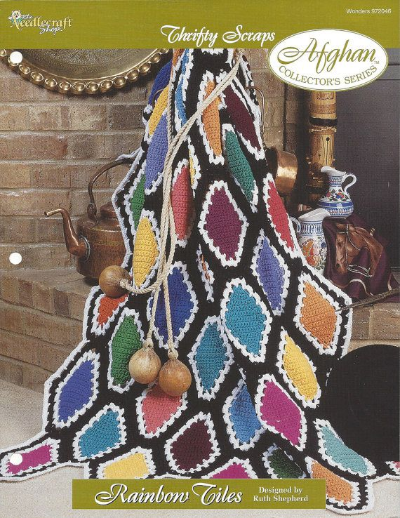 Crochet Multi Color Scrap Afghan Pattern Home Decor Heirloom