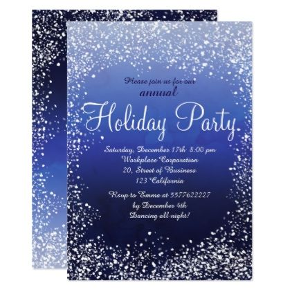 Navy Blue Snow Watercolor Corporate Holiday Invitation