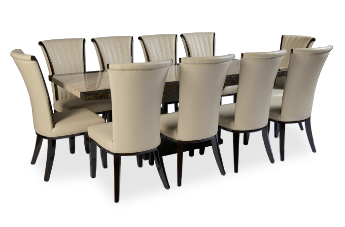 Tenore 220cm Marble Dining Table With 10 Alpine Cream Chairs