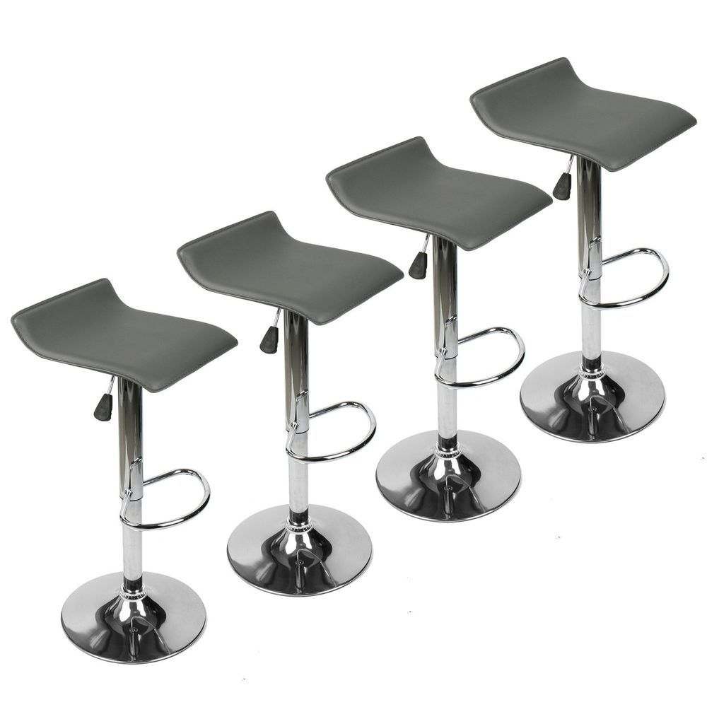Set Of 4 Bar Stools PU Leather Adjustable Swivel Pub Chair Kitchen Dining  Gray #Elecwish