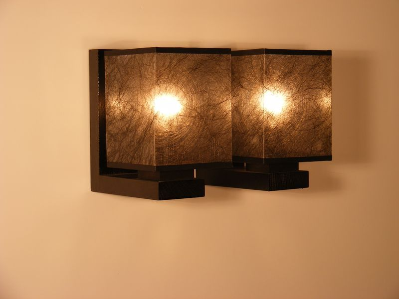 BASARI Wall Sconce Double Light With Dark Fabric Lamp Shade Wenge Brown Wooden Base - http ...