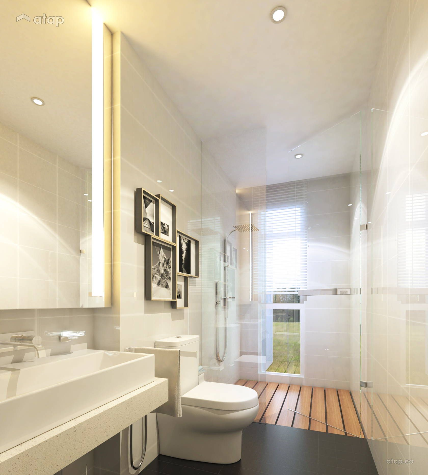 Contemporary Modern Bathroom Semi-detached Design Ideas