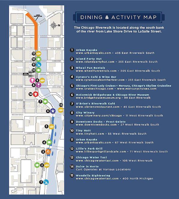 Chicago Riverwalk - Map 2016 | Chicago | Pinterest | Chicago ...