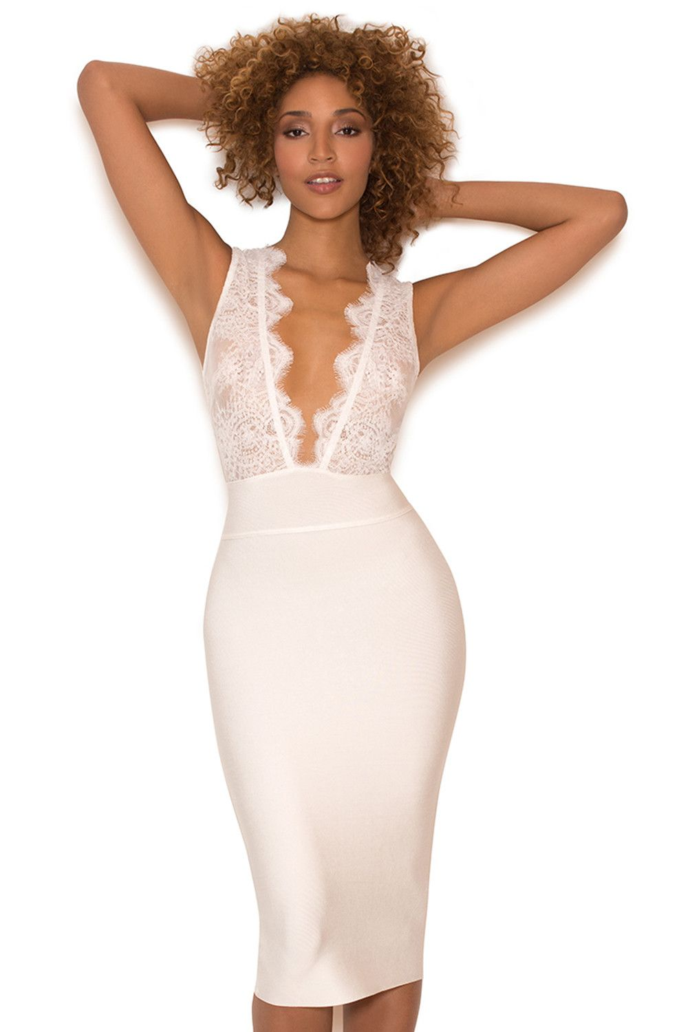 1a1a1dfcb3 Clothing   Bandage Dresses    Ria  White Lace and Bandage Deep V Dress