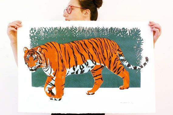 Jungle Tiger. Large Handcrafted Silk Screen Print. by WolfJawPress