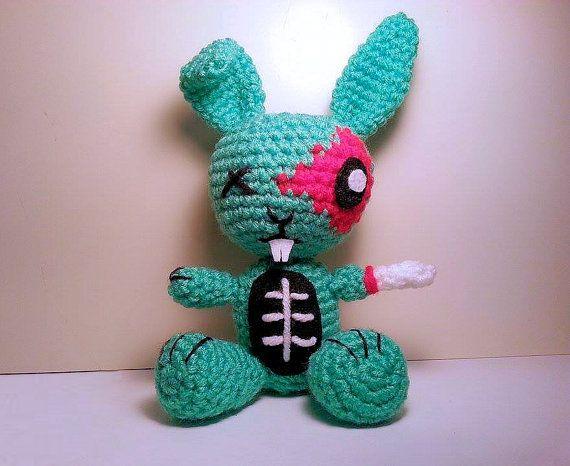 Crochet Pattern Amigurumi Zombie Bunny Crochet Plush Pattern
