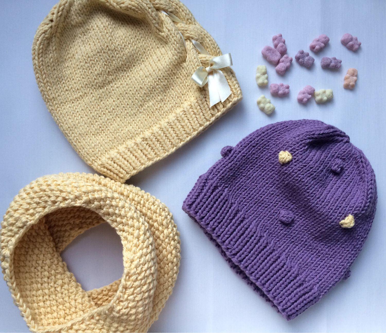 Купить Детские шапочки - шапочки, шапки, набор, снуд, детская одежда, детская шапочка