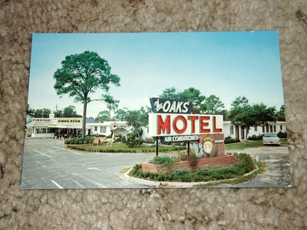 Vintage The Oaks Motel Restaurant And Ping Center Panacea Florida Postcard