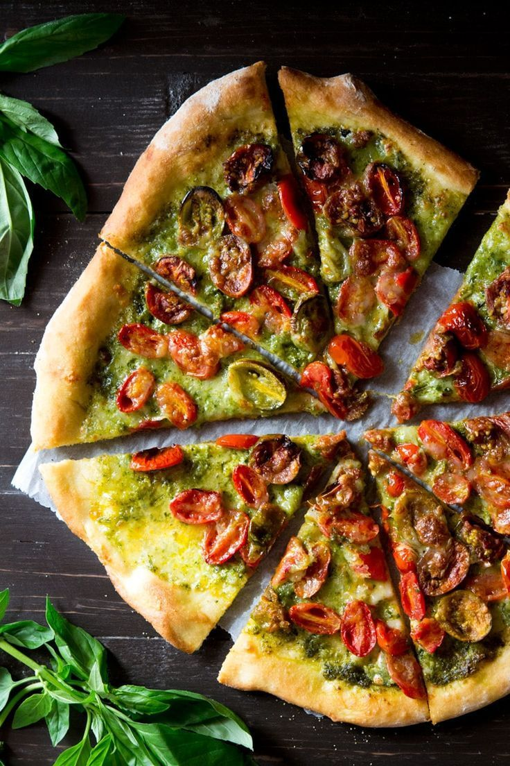 Basil Pesto Pizza with Mozzarella & Roasted Tomatoes – Inside The Rustic Kitchen