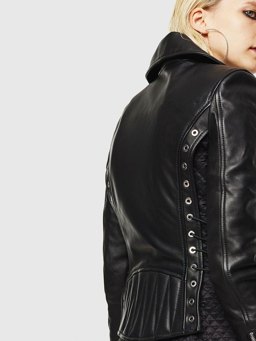 L Carama Black Fashion Black Mini Skirt Biker Jacket [ 1116 x 837 Pixel ]