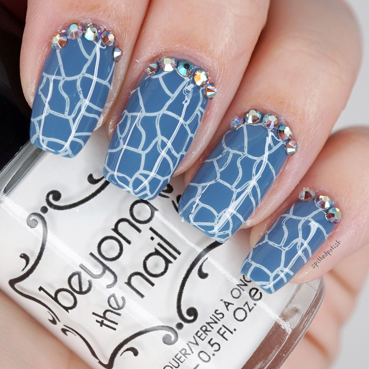 Cracked Blue Nails | Blue nails, Nail candy and Stamping nail art