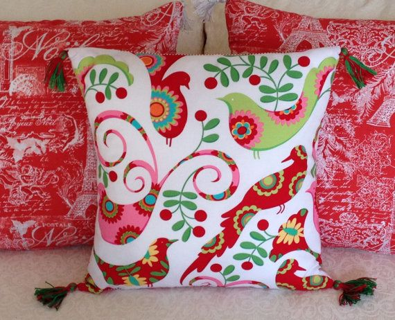 Bright colorful holiday birds 16 x 16 throw pillow cover Red