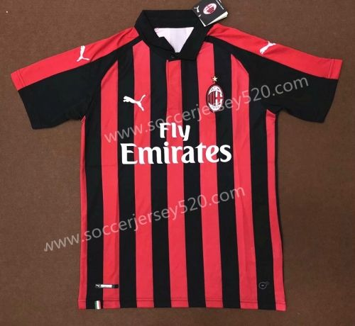 3156469ec0b 2018-19 AC Milan Home Red and Black Thailand Soccer Jersey AAA ...