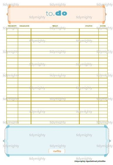 Priority To Do List / Planner Printable PDF by tidymighty Etsy