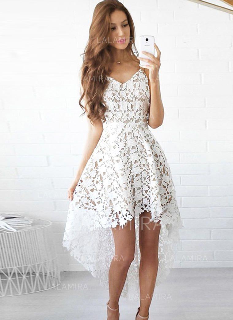 0a774c792b9 A-Line Princess V-neck Asymmetrical Prom Dresses (018146479) - Prom Dresses  - lalamira