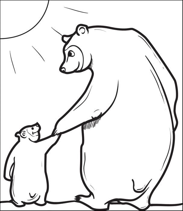 Cute Coloring Page Of A Papa Bear Holding His Baby Cubs Hand Go Here To