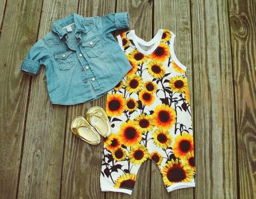 1521eccd4c57 Sunflower Paradise Need an easy one piece outfit for your daughter! We got  the right item for you  this baby girl sunflower romper is the perfect one  piece ...