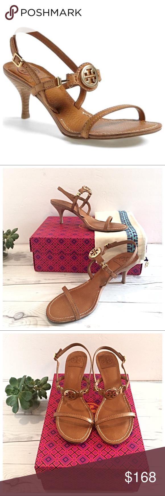ce473dc506fd Tory Burch Mira Tan Leather Gold Logo Sandals Gorgeous