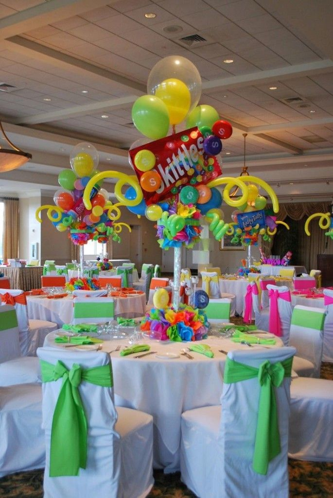 Fabulous Party Table Centerpiece Decoration Designs Interior Birthday With Colorful Hanging Balloons And Candy